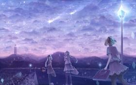 Картинка машина, небо, облака, город, огни, девушки, вечер