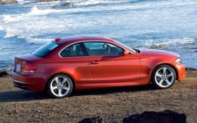 Обои Море, BMW, Колеса, Оранжевый, 1 Series, Вид сбоку, M Coupe