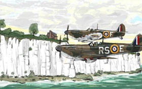 Обои авиация, рисунок, самолёты, вторая мировая война, британские