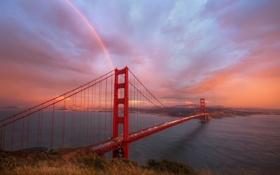 Обои Сан-Франциско, мост, вечер, радуга, тучи