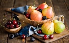 Картинка ягоды, полотенце, фрукты, натюрморт, груши, черешня, ежевика