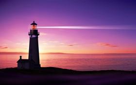 Картинка море, небо, рассвет, побережье, маяк, горизонт, зарево