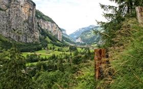 Обои пейзаж, горы, природа, фото, Швейцария, Lauterbrunnen