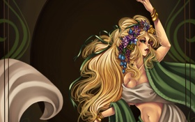 Картинка девушка, украшения, цветы, волосы, рука, танец, живот