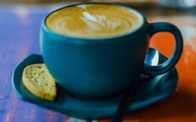 Обои голубой, кофе, ложка, кружка, чашка, блюдце
