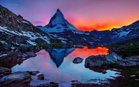 Обои небо, свет, снег, горы, природа, озеро, отражение