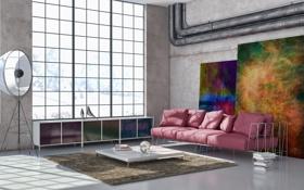 Обои комната, диван, книги, ковёр, подушки, окно, картины