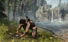 Обои ручей, молодой, коннор, Assassin's Creed III, AC III Connor Traps