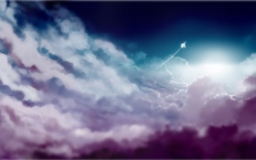 Картинка облака, след, арт, самолёт