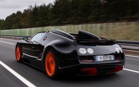 Обои авто, черный, Roadster, Bugatti, Veyron, суперкар, вид сзади