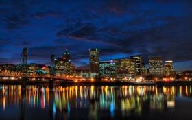 Обои ночь, побережье, дома, City, USA, США, Oregon