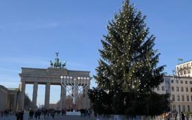 Обои Берлин, праздник, ель, Германия, Бранденбургские ворота