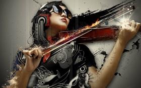 Картинка скрипка, симфония, девушка, стиль