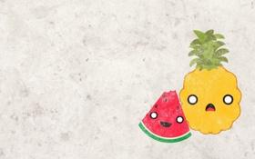 Обои ананас, текстура, фрукты, серый фон, обои, лицо, долька
