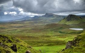 Обои green, grass, mountains, view, clouds, rocks, Scotland