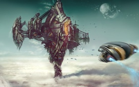 Картинка steel, landing, Robert Simons, powerful platform, clouds, construction, spacecraft