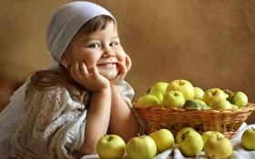 Картинка улыбка, настроение, яблоки, текстура, девочка