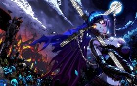 Картинка ночь, смерть, крест, аниме, кладбище, ikkitousen, школьные войны