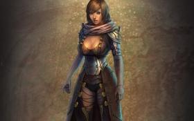 Картинка девушка, фон, шарф, фэнтези, арт
