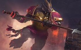 Обои карта, существо, арт, рога, WoW, World of Warcraft, копьё