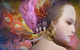 Обои украшения, цветы, портрет, Девушка