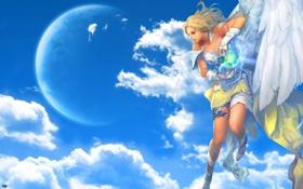 Обои девушка, Aion, небо.облака, голубые