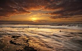 Обои rock, wave, ocean, sunset