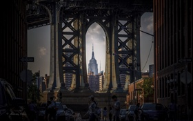 Картинка дорога, город, люди, дома, мост, мегаполис
