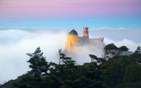 Картинка небо, облака, деревья, туман, замок, утро, Португалия
