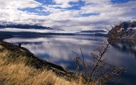 Обои небо, трава, вода, облака, горы, озеро, гладь