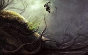 Картинка фантастика, победа, монстр, воин, арт, by cloudminedesign, death of kukuri