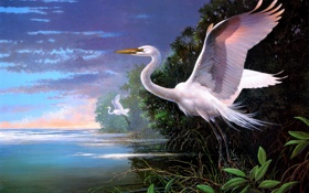 Обои облака, залив, живопись, цапли, Les Didier, White Egrets at Pelican Bay