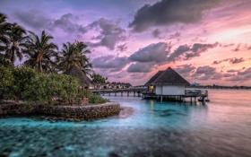 Картинка море, пейзаж, закат, дома, Maldives
