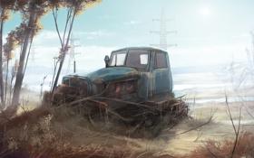 Картинка поле, техника, арт, трактор, Гусеничный
