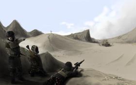 Обои оружие, война, пустыня, солдаты, war
