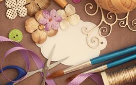 Обои цветы, ленты, пуговицы, нитки, vintage, винтаж, ножницы