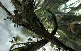 Картинка люди, высота, растения, арт, лианы, Jack the Giant Slayer