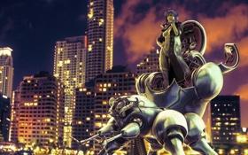 Обои робот, город, GITS TRIBUTE II, девушка