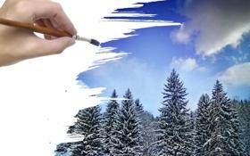 Картинка зима, лес, снег, рисунок, рука, кисть