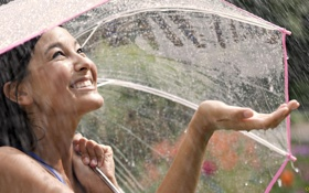 Картинка девушка, капли, дождь, настроение, зонт