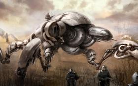 Обои деревья, оружие, война, роботы, солдаты, кусты, шагатели