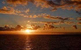 Картинка море, солнце, горизонт, облака. закат