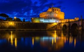 Обои ночь, огни, Рим, Италия, замок Святого Ангела