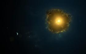 Обои аномалия, звезды, планета, солнце, свет