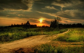 Картинка дорога, поле, закат, природа