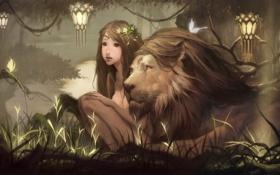 Картинка лес, бабочки, пруд, лев, фэнтези, арт, фонари