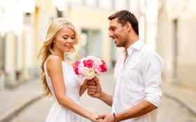 Картинка любовь, радость, счастье, пара, happy, flowers, couple