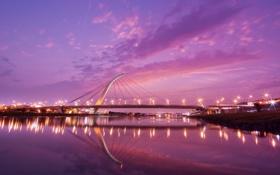 Обои мост, город, огни, река, вечер, дома ., taipei