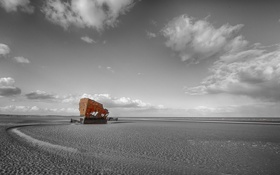 Картинка берег, отлив, остов, Ирландия, обломки корабля, Лаут, Балтрей
