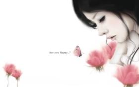 Обои Enakei, вопрос, бабочка, девушка, локоны, цветы
